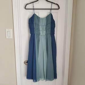 100% Silk VEUC Blue Striped Betsy Johnson Dress